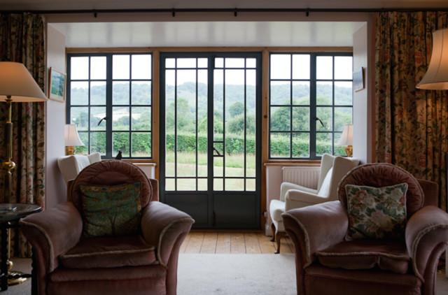 Windows No Curtains Necessary Traditional Living Room