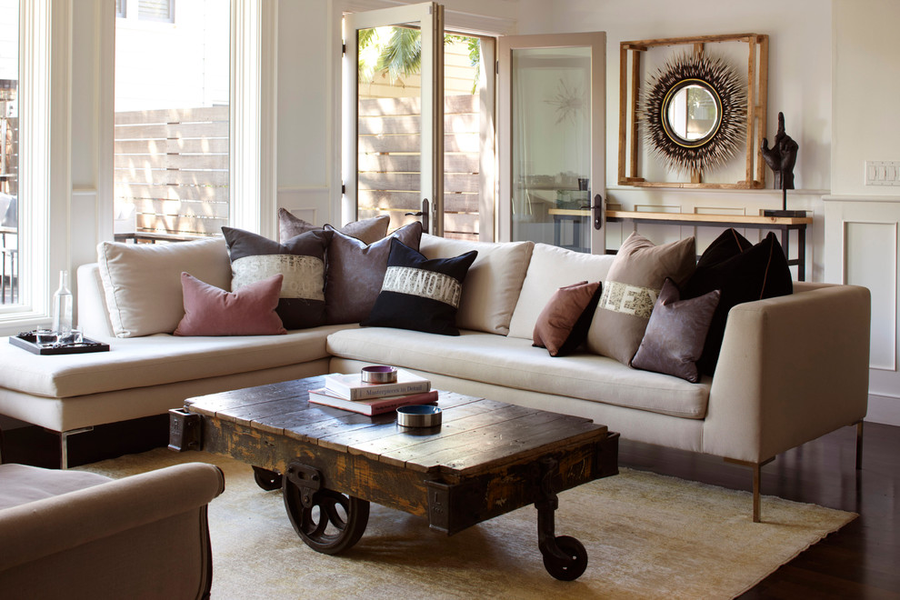 Living room - eclectic living room idea in San Francisco with white walls