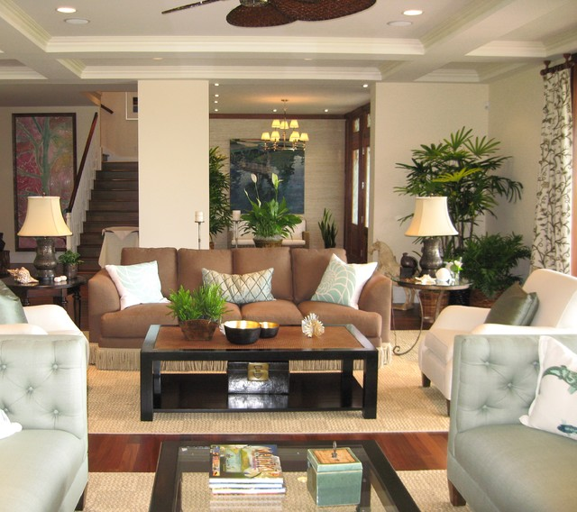 Noela Honolulu Hawaii Tropical Living Room Orange County