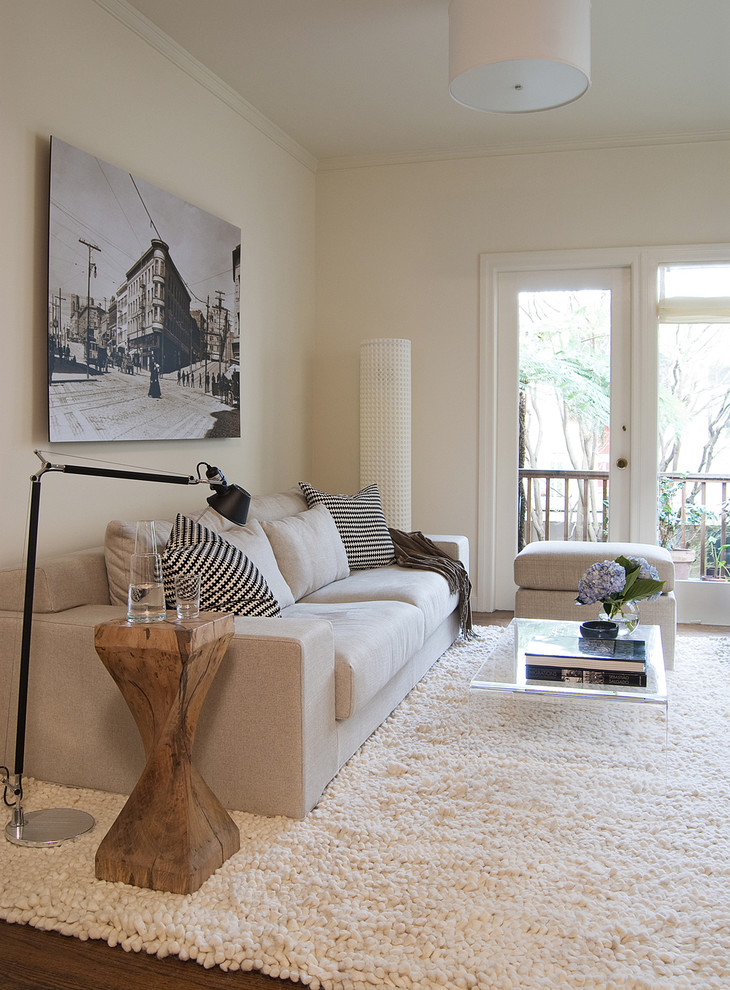 Living room - mid-sized transitional enclosed dark wood floor living room idea in San Francisco with white walls