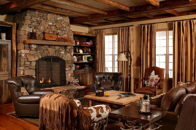 North Carolina Country Style Residence - Traditional - Living Room ...