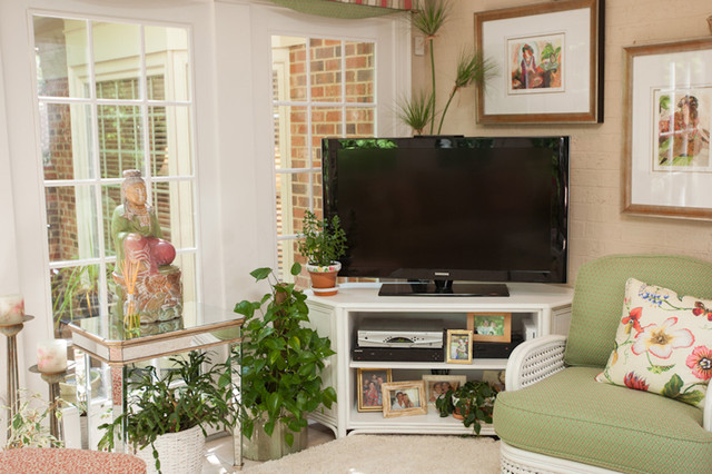 North carolina garden sunroom tropical living room for Tv stand kids room