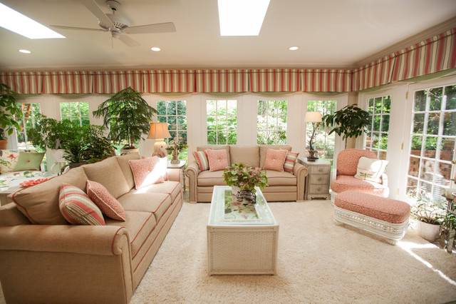 North Carolina Garden Sunroom Tropical Living Room