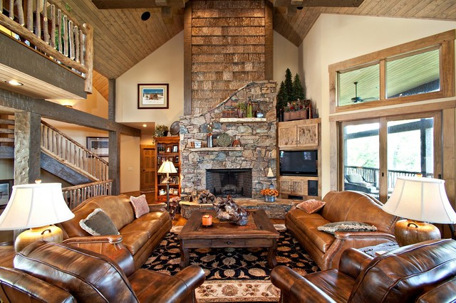 North Carolina Mountain Homes Rustic Living Room