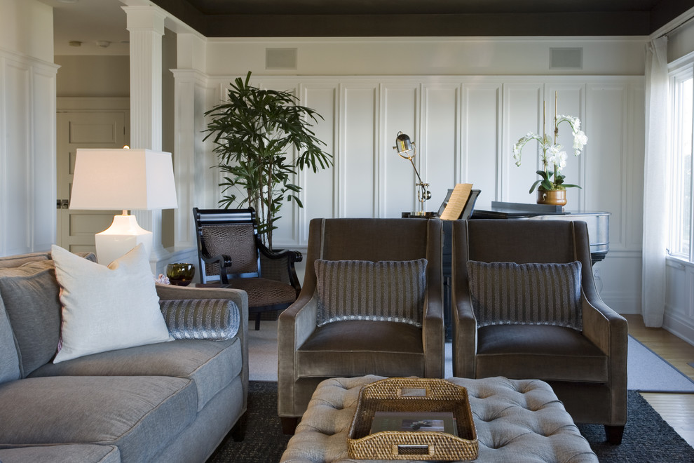 Inspiration for a contemporary living room remodel in Seattle with white walls