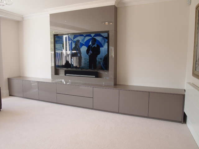 North London AV, Cabinets And False Chimney Breast Modern Living Room