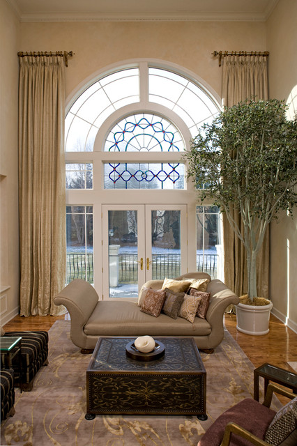 North oaks window treatments mediterranean living room for 2 story window treatments