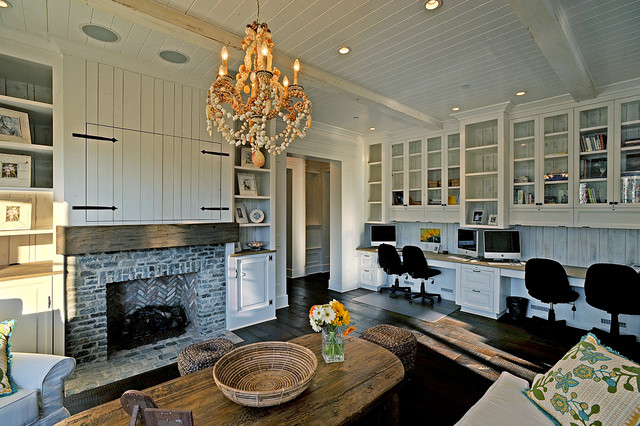 Example of a classic enclosed living room design in Los Angeles with a  standard fireplace Living Room Desktop Computer   Houzz. Desktop Computer Living Room. Home Design Ideas