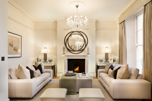 Charmant Transitional Formal And Enclosed Light Wood Floor Living Room Photo In  London With Beige Walls And