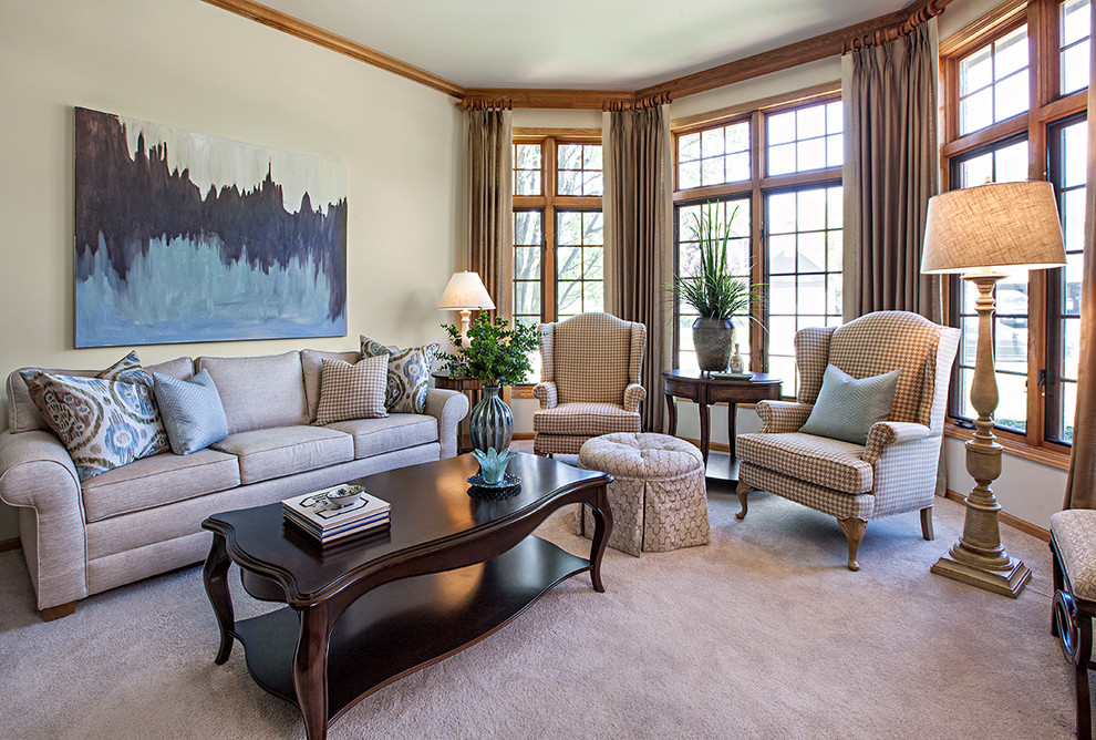 Living room - large traditional formal and enclosed carpeted and beige floor living room idea in Chicago with beige walls and no fireplace