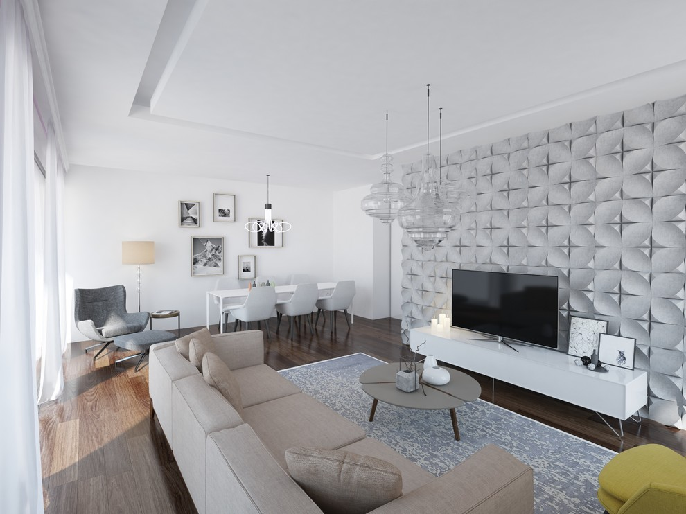 Large danish formal and enclosed dark wood floor living room photo in Other with white walls and a tv stand