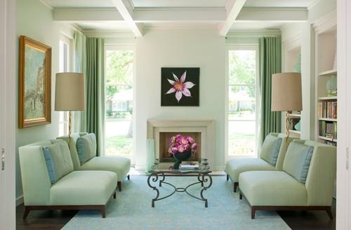 窗簾顏色與其他家是採用鄰近色漸變鋪陳