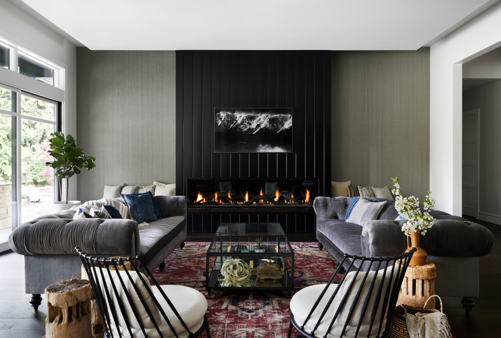 Example of a trendy living room design in Seattle