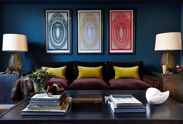 Inspiration for a contemporary living room in London with blue walls.