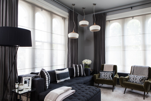 contemporary living room curtains. Contemporary formal living room idea in London with gray walls Curtains With Blinds Living Room Ideas  Photos Houzz
