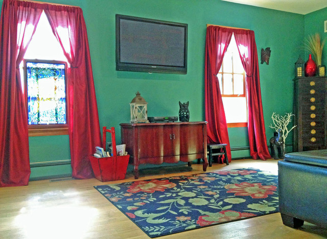 NY Interior Design Eclectic Living Room: Red Curtains, Green Wall, Wood  Floors Eclectic