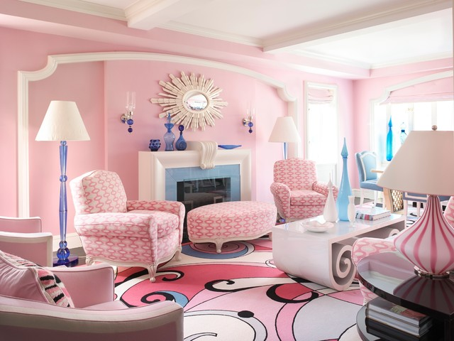 Nyc Pretty In Pink Contemporáneo, Pink Living Room