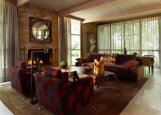 O'Neil Ford Interiors midcentury-living-room