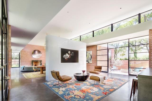 Oak lane midcentury living room houston by dillon for Mid century modern architects houston