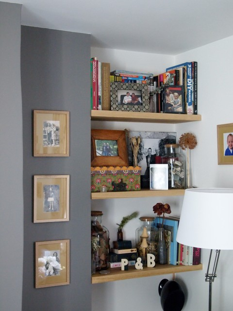 oak shelves and bench contemporary living room other