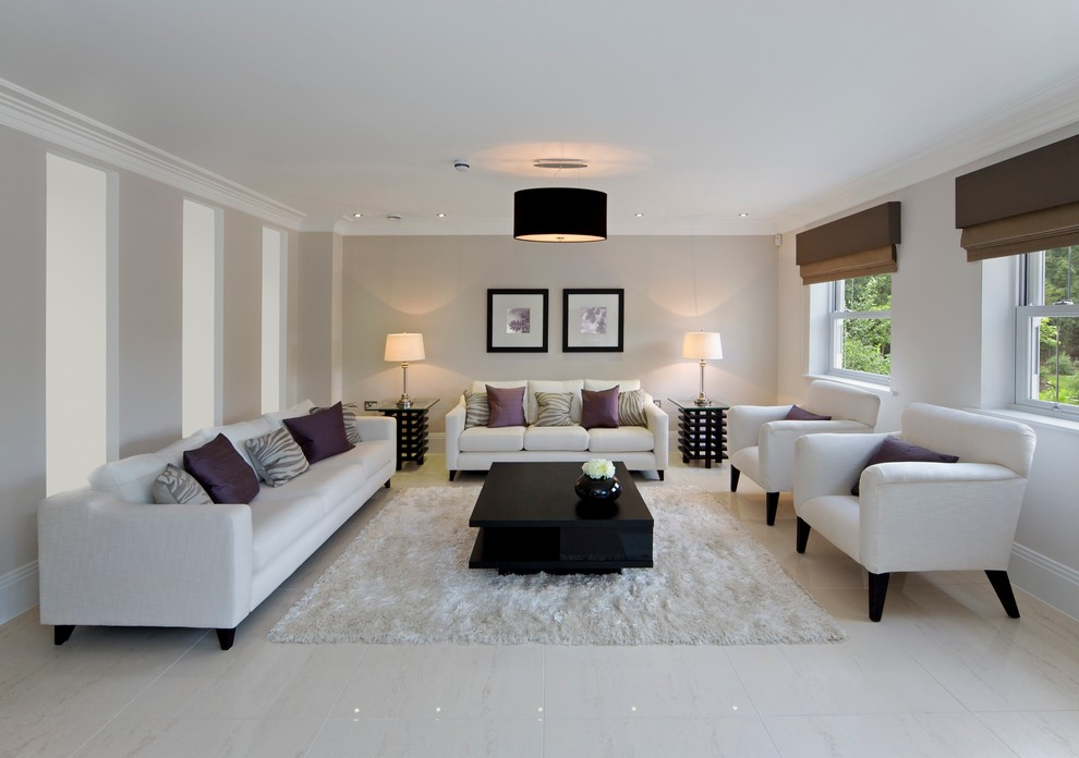 Living room - mid-sized contemporary enclosed and formal porcelain tile living room idea in Other with beige walls