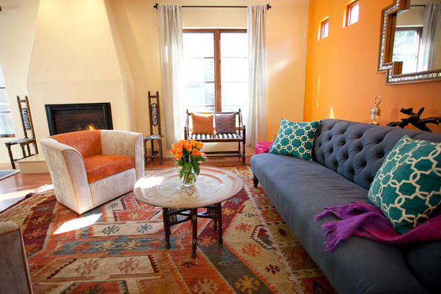 Living Room   Mediterranean Living Room Idea In San Francisco With Orange  Walls And A Standard