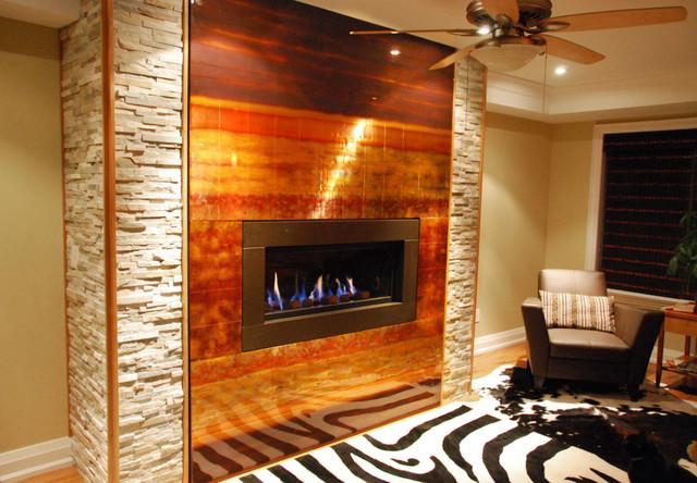 Oakville Custom Copper Fireplace Feature Modern Living Room