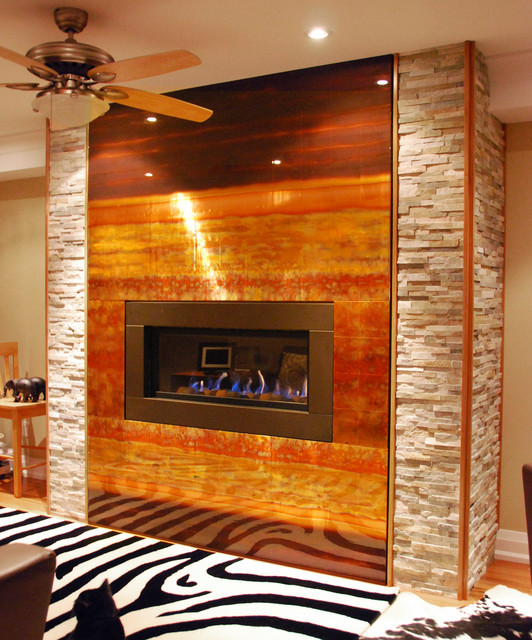 Oakville Custom Copper Fireplace Feature Contemporary