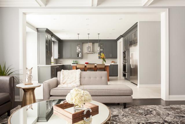 Oakville New Build Living Room Kitchen Transitional