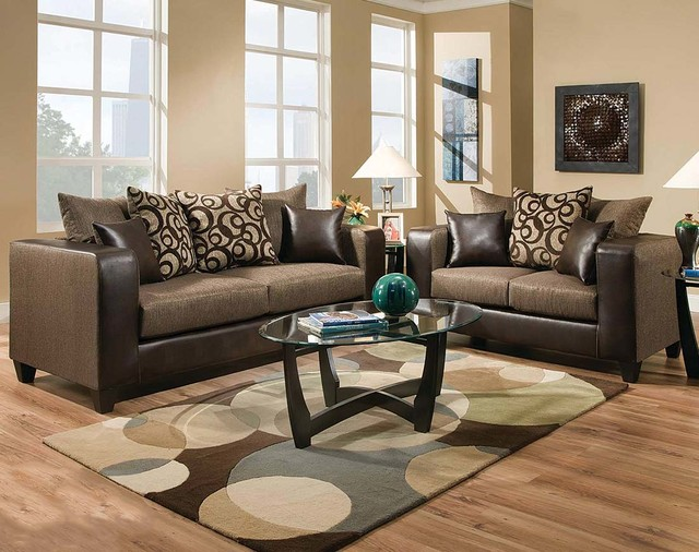 Object Espresso Sofa Loveseat Contemporary Living Room By America