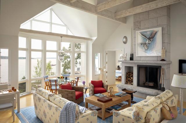 Ocean cliff beach style living room portland maine - Bedroom furniture portland maine ...