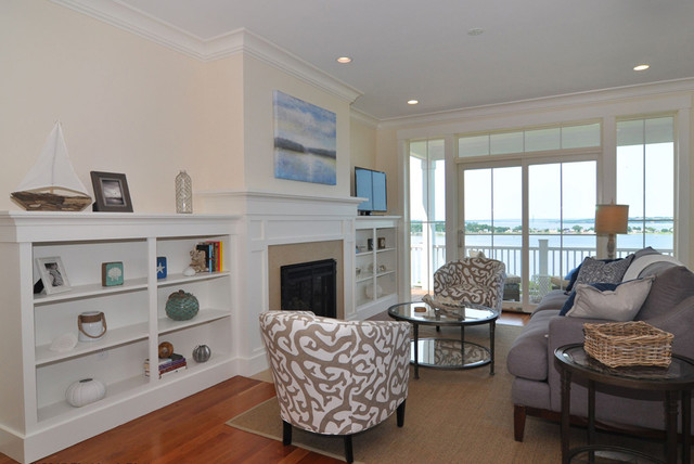 Inspiration for a mid-sized beach style formal and open concept dark wood floor living room remodel in Boston with beige walls, a standard fireplace, a stone fireplace and a tv stand