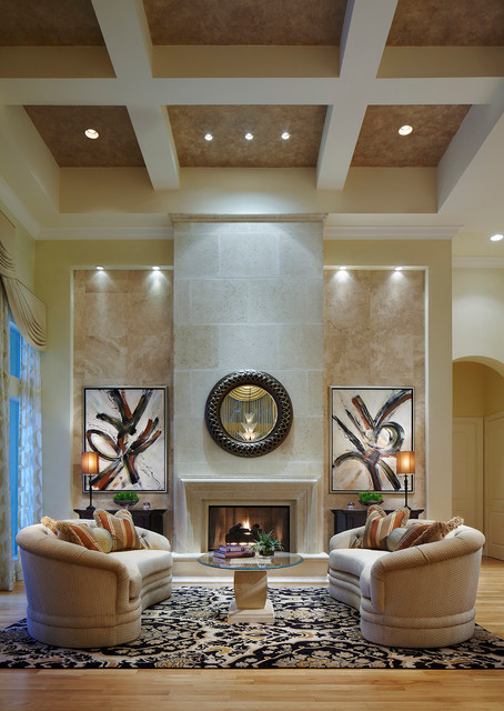 Transitional Living Room With Coastal Vibe And Blue: Ocean Harbour Great & Dining Rooms