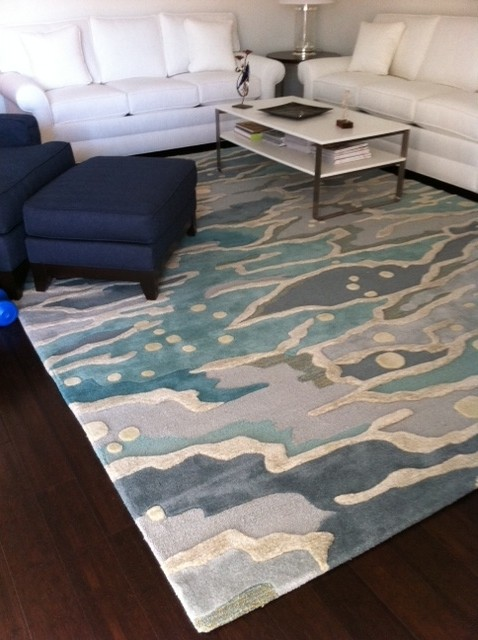 Ocean living room modern living room by angela adams Angela adams rugs