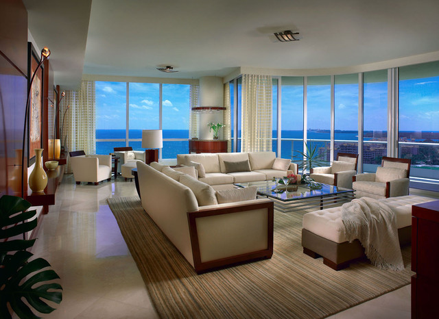 Ocean View Highrise Contemporary Living Room San