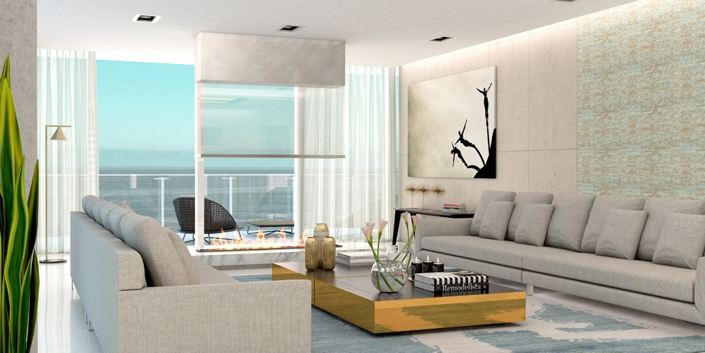 Large trendy formal and open concept porcelain tile and white floor living room photo in Miami with white walls, a standard fireplace, a stone fireplace and no tv