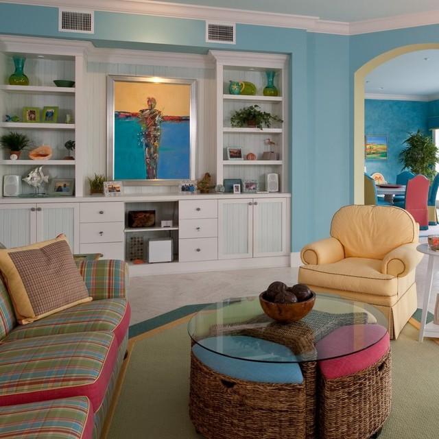 Oceanfront Florida Tropical Living Room Detroit By Periwinkle Designs