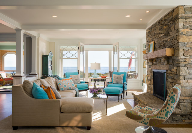 Oceanfront LEED Silver Home Beach Style Living Room