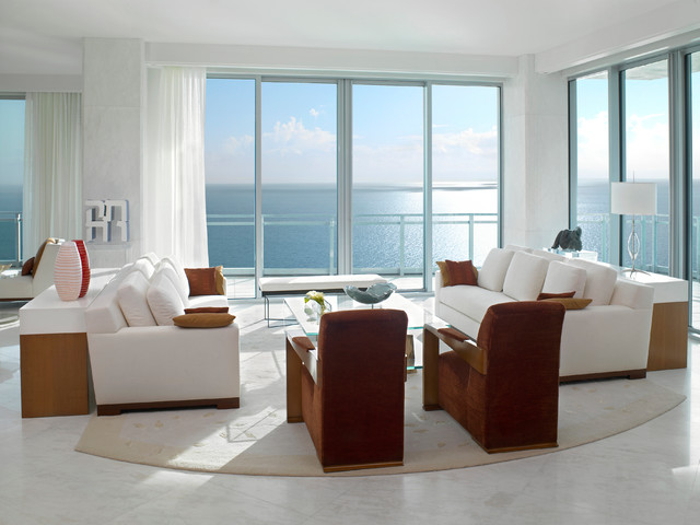 Living Room Miami Beauteous Ocean Penthouse Miami Beach  Contemporary  Living Room  Miami . Design Decoration