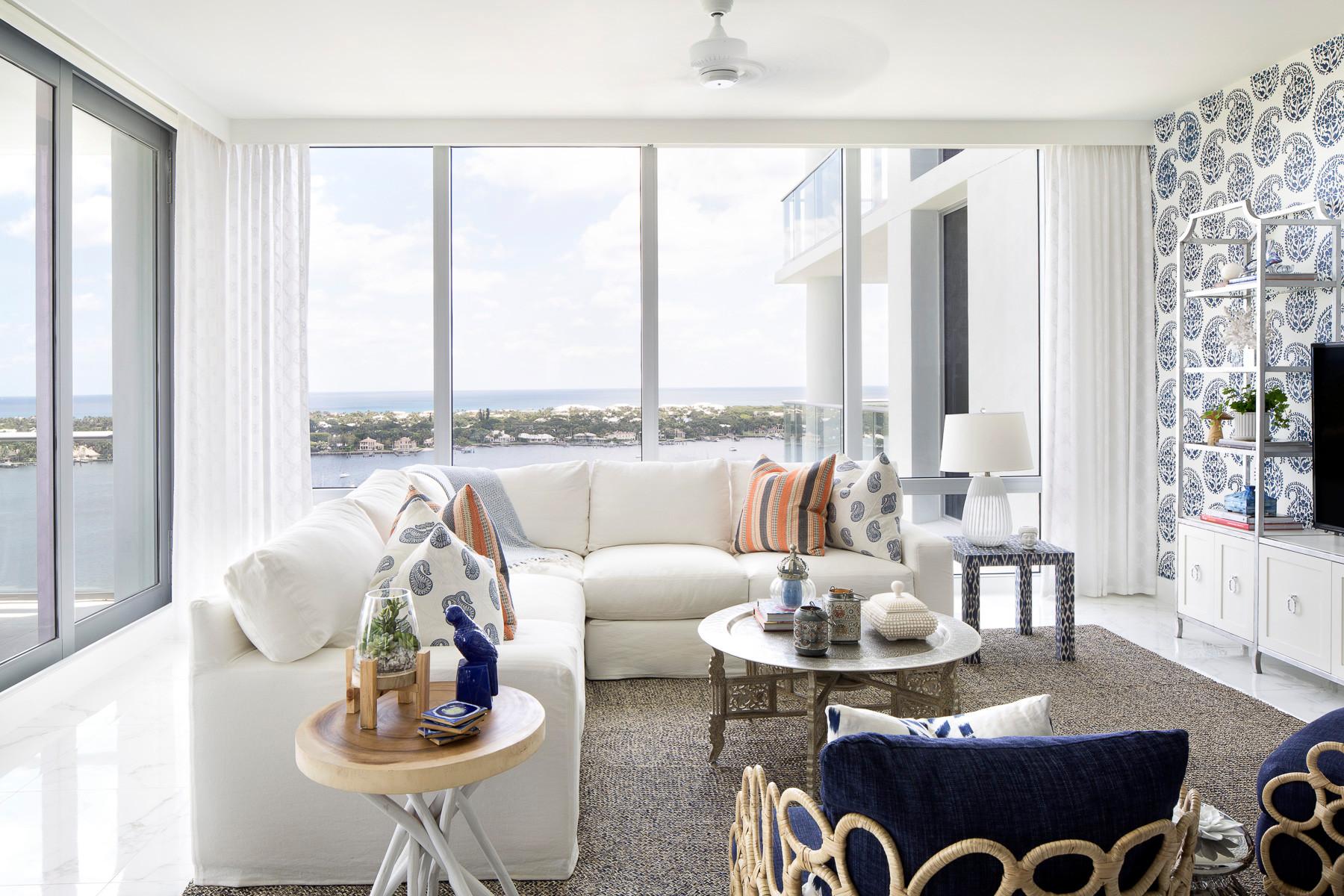 Living room - coastal living room idea in Miami