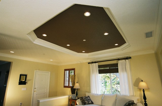 Octagon Coffer Ceiling Traditional Living Room