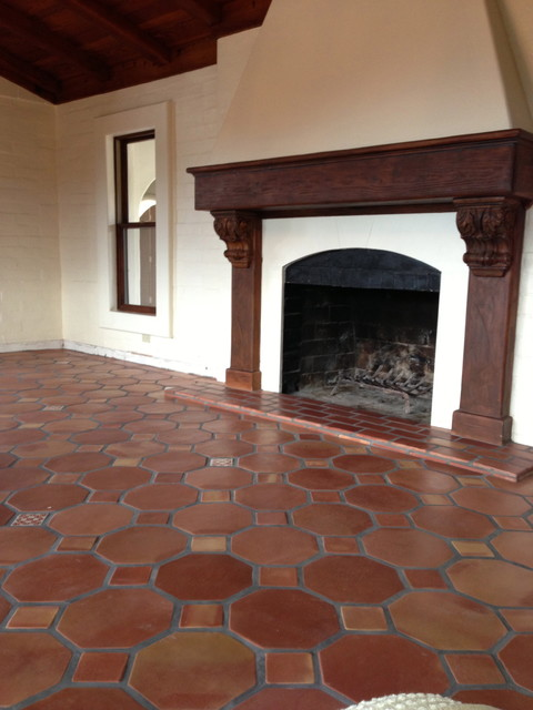 Octagon terracotta saltillo mediterranean living room - Spanish floor tile designs ...