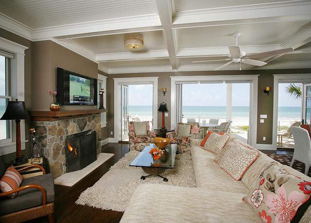 """Off the Air"" Beach House beach-style-living-room"
