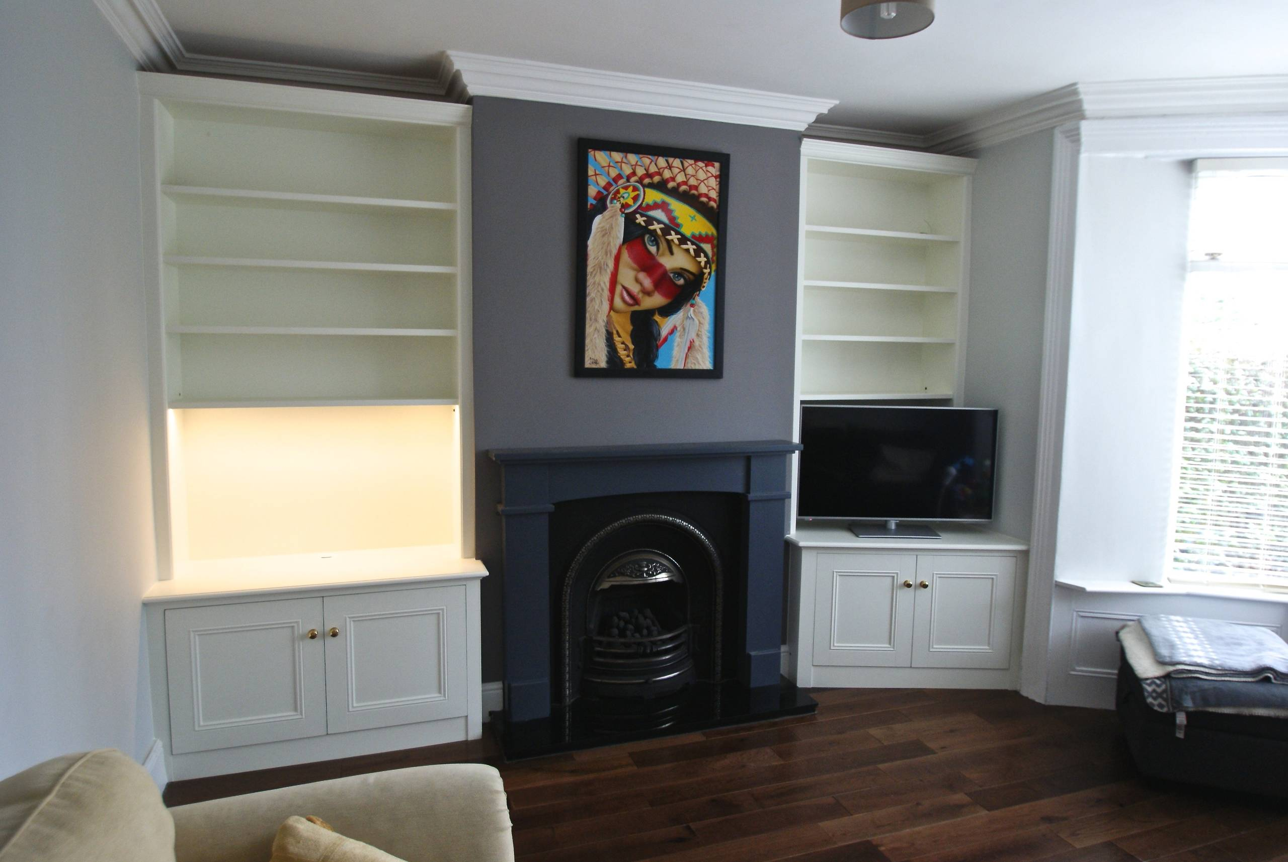 Off White Tall Classic Alcove Units with Lighting