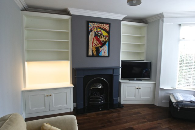 Sheffield Victorian Fitted Alcove Units In Off White Eclectic Living Room