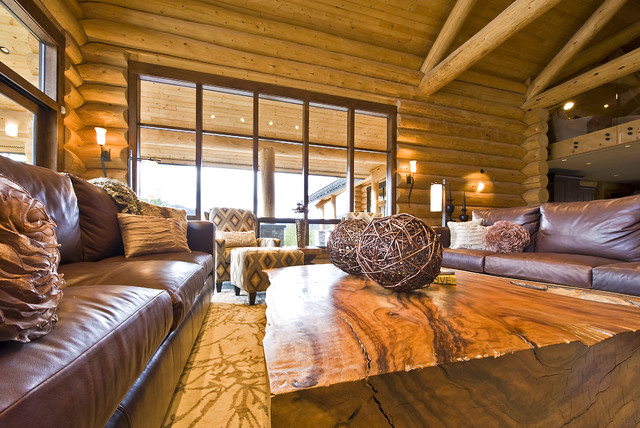 Okanagan log home rustic living room other metro for Log home living room ideas