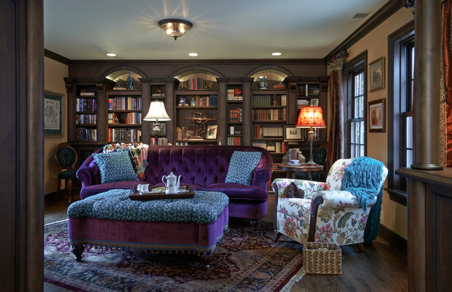 old english library  traditional  living room  portland