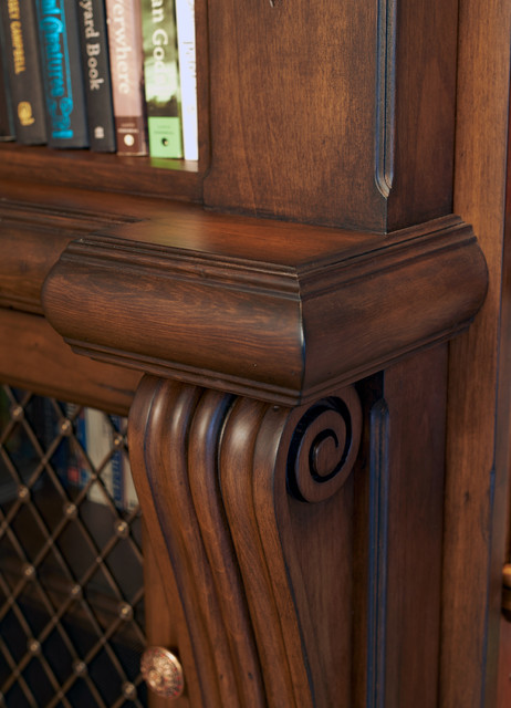 Old english library traditional living room portland for Kitchen library portland