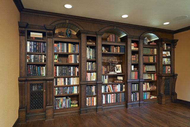 Old English Library - Traditional - Living Room - Portland - by Rockwood Cabinetry