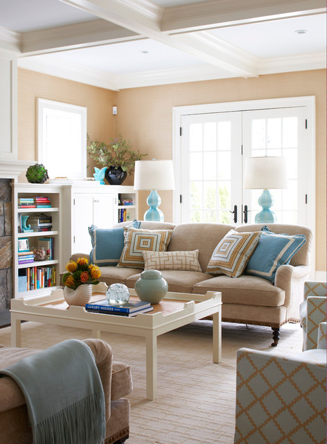 Old greenwich beach family room beach style living for Beach style living room furniture